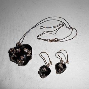 Jewelry - Black Onyx Heart Pendant Sterling Silver Necklace